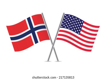 American and Norwegian flags. Vector illustration.