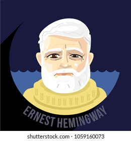 American novelist, short story writer, and journalist Ernest Hemingway. Vector cartoon portrait face with name on round frame. for Literary site, book cover or illustration, literature cafe, t shirt