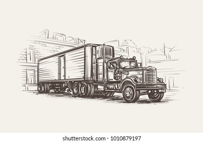 American Old Retro Truck hand drawn illustration. Vector.
