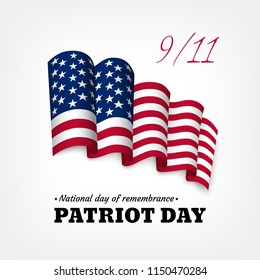 American Patriot day celebration banner with national flag of United States of America on a light background.
