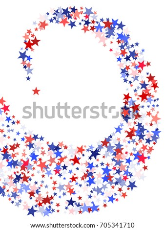 393046f0fdc American Patriot Day flying stars curl background. Holiday confetti in USA  flag colors for President Day celebration. Red and blue stars American  patriotic ...