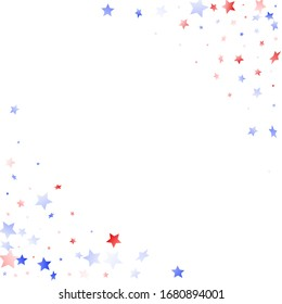 American Patriot Day stars background. Holiday confetti in USA flag colors for Patriot Day. Gradient red blue white stars on white American patriotic vector. Fourth of July stardust scatter.