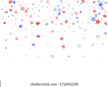 American Patriot Day stars background. Holiday confetti in US flag colors for Patriot Day. Trendy red blue white stars on white American patriotic vector. July 4th holiday stardust.