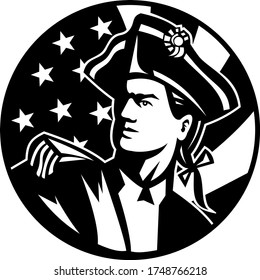American Patriot Revolutionary Soldier Looking Up USA Flag Retro Black and White