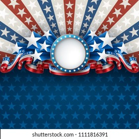American patriotic background with round frame, 4th of july greeting card, EPS 10 contains transparency.