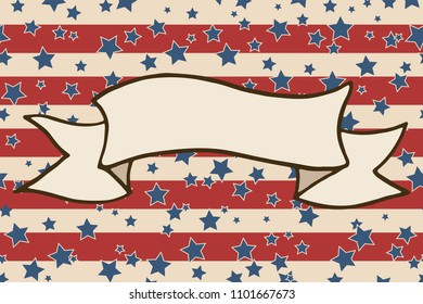 American patriotic background. United States blank ribbon banner frame with space for text. Independence day horizontal design template. Stars and stripes backdrop.