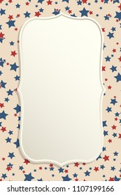 American patriotic background. United States blank vintage vertical frame with space for text. Independence day design template. Stars backdrop.