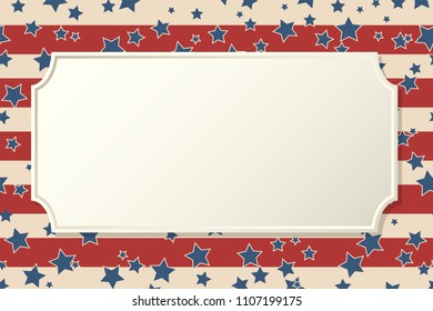 American patriotic background. United States blank vintage horizontal frame with space for text. Independence day design template. Stars and stripes backdrop.