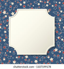 American patriotic background. United States blank vintage frame with space for text. Independence day design template. Stars backdrop.