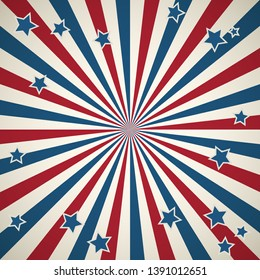 American patriotic background. United States Independence day sqaure design wallpaper. Stars and stripes backdrop with retro rays of light.