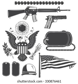American patriotic elements set. Weapons, armor, flag, seal. Typographic labels,stickers, logos and badges. Flat vector illustration