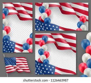 American patriotic festive posters set. Realistic waving american flag and colorful air balloons on transparent background. Independence and freedom vector layouts. USA national celebration concepts