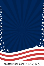 American patriotic poster background in flag colors