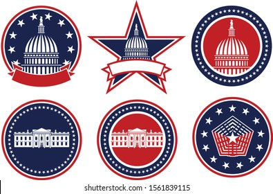 American Patriotic Red, White and Blue, Capital, White House and Pentagon Logos Isolated Vector Illustration