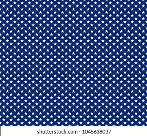 American patriotic seamless pattern white stars on blue background. Vector illustration.