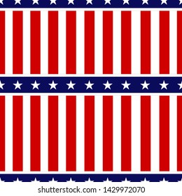 American patriotic stars and stripes seamless pattern. Independence day vector background.