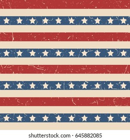 American patriotic stars and stripes textured seamless pattern in vintage colors. Independence day vector background.