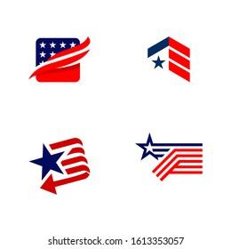 American patriotic symbols set for design and decorate or logo template