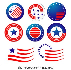 American patriotic symbols set for design and decorate or logo template. Jpeg version is also available