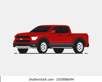 American pickup vector illustrayion in flat style. Red truck isolated. Auto side view.