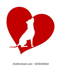 American Pit Bull Terrier silhouette in heart isolated on white background love dog vector illustration