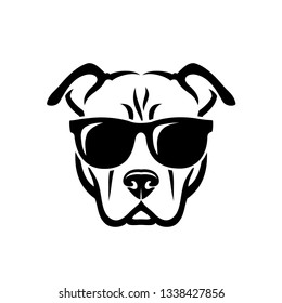 American Pitbull Terrier dog wearing sunglasses - isolated vector illustration