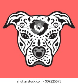 american pitbull terrier, pit bull sugar skull, cute dog, day of the dead, vector illustration design