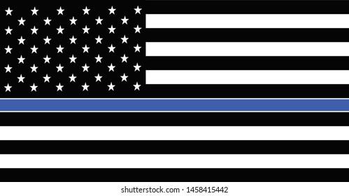 American police flag. Thin Blue Line American Police Flag.