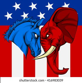 An American political concept of the party symbols of the democratic and republican parties, a blue donkey and red elephant, facing off against each other