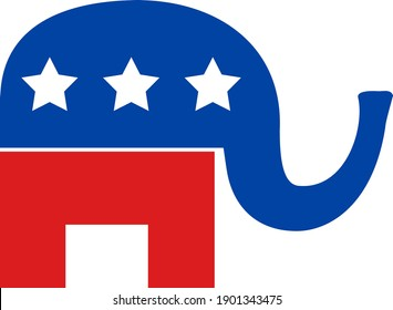American political elephant icon with flat style. Isolated vector american political elephant icon image, simple style.