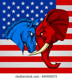 American politics election concept with animal mascots of the democrat and republican political parties. A blue donkey and red elephant staring each other down.