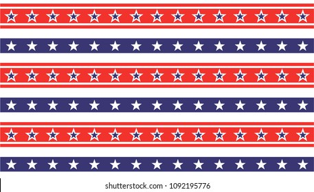 American President Day Abstract Seamless Pattern with Stars colored as USA Flag. Vector Illustration for Celebration Holiday 4 of July Background,  star sparkles lines on Stripes White Blue and Red