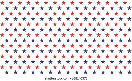American President Day Abstract Seamless Pattern with Stars colored as USA Flag . Vector Illustration for Celebration Holiday 4 of July Background, White star sparkles lines on Blue and Red Stripes