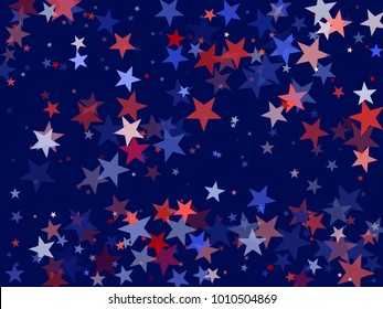 American President Day background for card, banner, poster or flyer. Colors of USA flag background, blue and red stars falling. USA symbols confetti. Holiday star dust pattern in red, white, blue.