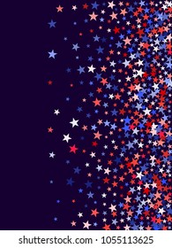 American President Day background with stars.  Holiday confetti in USA flag colors for President Day. Red blue white stars American patriotic graphics. 4th of July cool stardust.