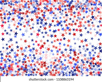 American President Day background of stars flying. Holiday confetti in US  flag colors for Independence 0d1c6e7ce