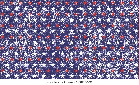 American President Day stars and stripes grunge Abstract Seamless Pattern, colored as USA Flag. Vector Illustration of stars and stripes grunge Background for Celebration Holiday 4th of July.