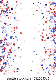 American Presidents Day background with stardust frame and white background. Red, white and blue stars vertical border for American Independence Day graphic design. Flying holiday confetti.
