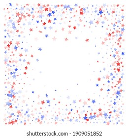 American Presidents Day stars background. Holiday confetti in US flag colors for President Day. Trendy red blue white stars on white American patriotic vector. 4th of July stardust scatter.