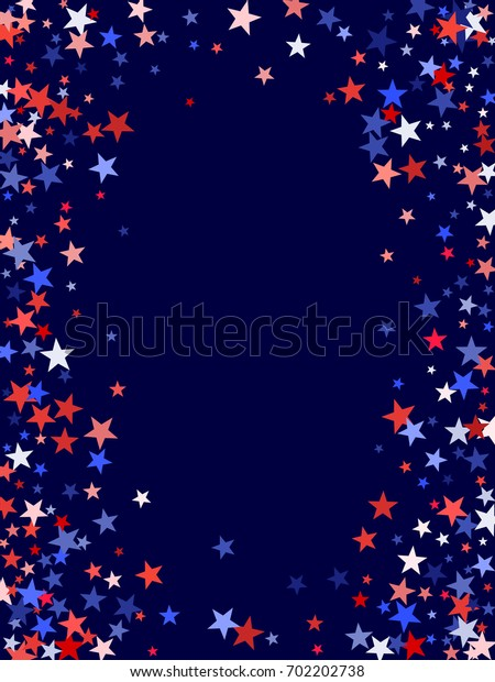 American Presidents or Patriot Day background with stardust frame. Red, white and blue stars vertical border, American Independence Day graphic design. Flying star confetti, USA patriotic background.