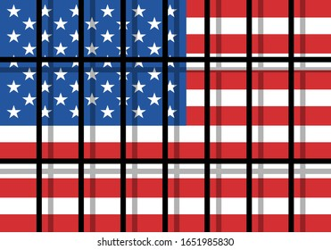American prison and jail in United States of America. Place for criminals and prisoners. Oppressive and repressive penal system of detention and imprisonment behind the bars . Vector illustration.