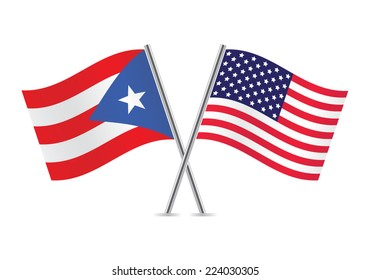 American and Puerto Rican flags. Vector illustration.