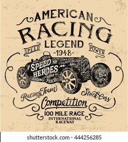 American racing legend, vintage print for t shirt grunge effect in separate layer