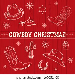 American Red Christmas background with cowboy objects and Holiday decoration with text.