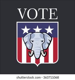 American  Republican Party Election Elephant Symbol Vector