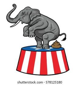 American Republican Party GOP Elephant Vector Cartoon Illustration. February 13, 2017
