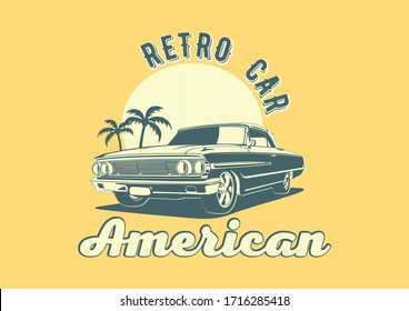 American retro car on a background of sun and palm trees. Ford Galaxie Convertible.