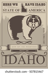 American retro poster in vintage style. United States of America greeting card from Idaho.
