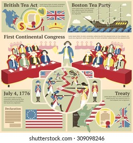 American revolutionary war illustrations - British tea act, Boston tea party, Continental congress, Battle illustration, 4th of July, Treaty. Vector with places for your text.