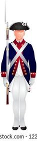 American revolutionary war soldier in Continental army uniform, U.S. Army Old Guard infantryman on guard duty, ceremonial event